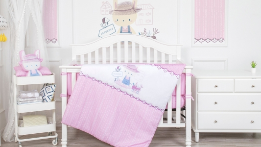 Lavender baby bedding set girl microfiber cartoon rabbit cot bedding set