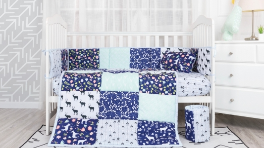 Baby bedding cartoon elk floral 4pcs microfiber baby quilt nursing crib bedding set