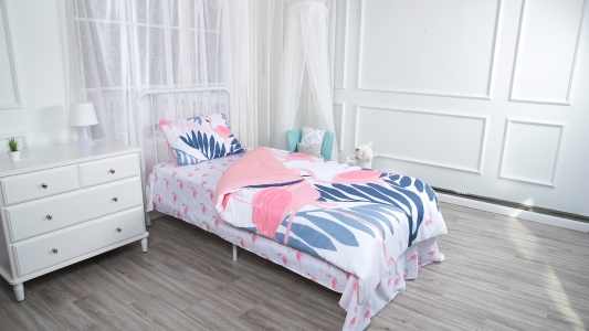Pink flamingo theme girl bedding set cute color toddler bedding set