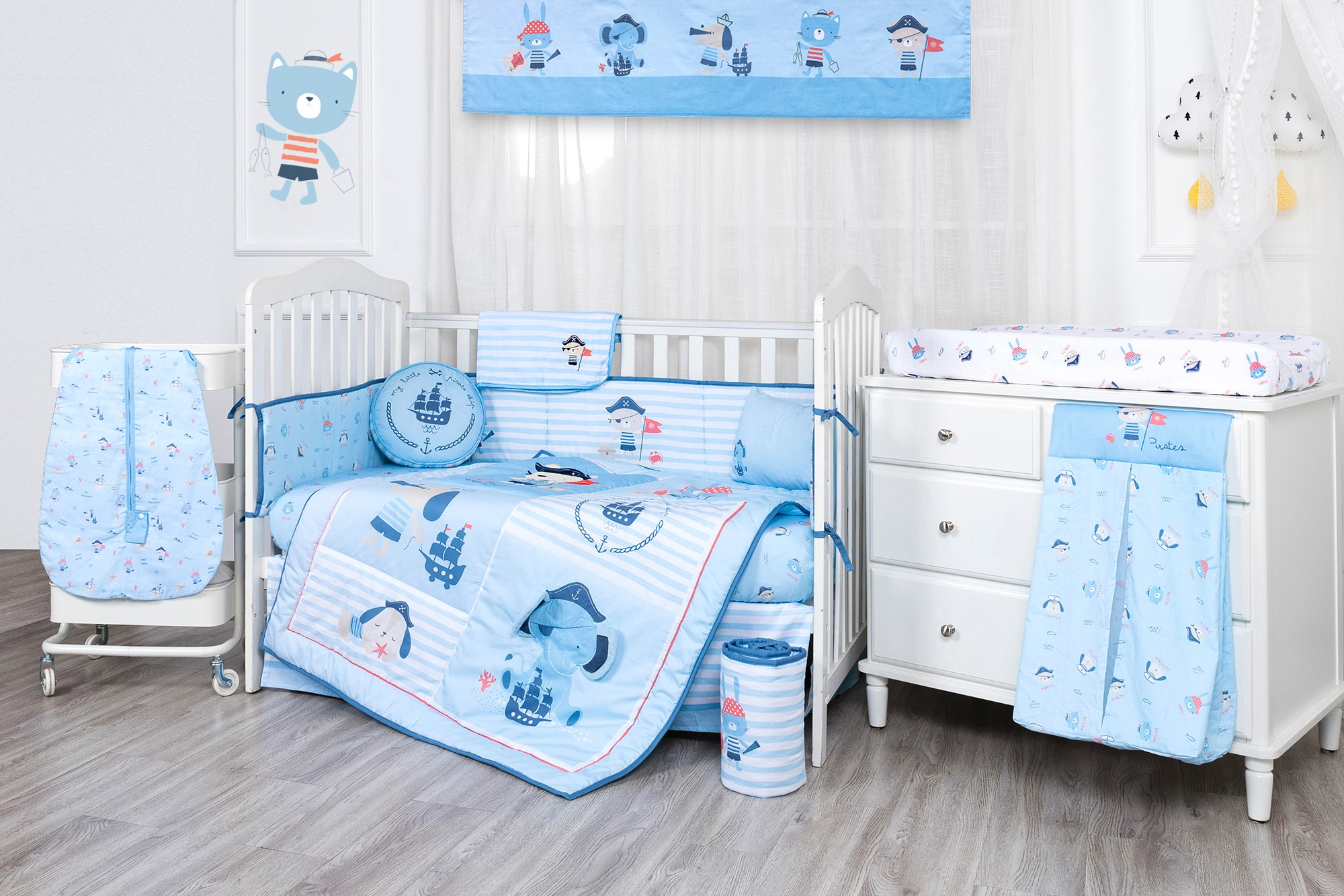 Pirate ship blue baby crib bedding set boy Cartoon elephant theme 100% cotton bedding set