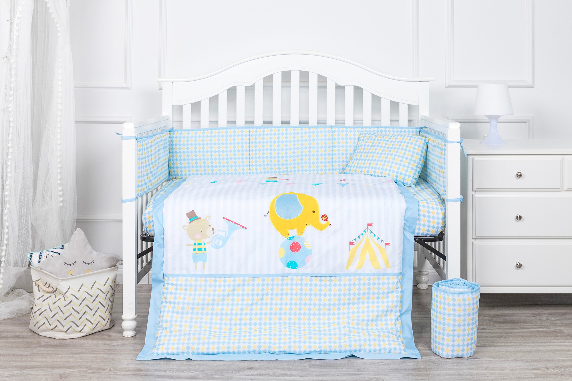 Blue color baby boy crib bedding set 100% cotton nursing bedding set