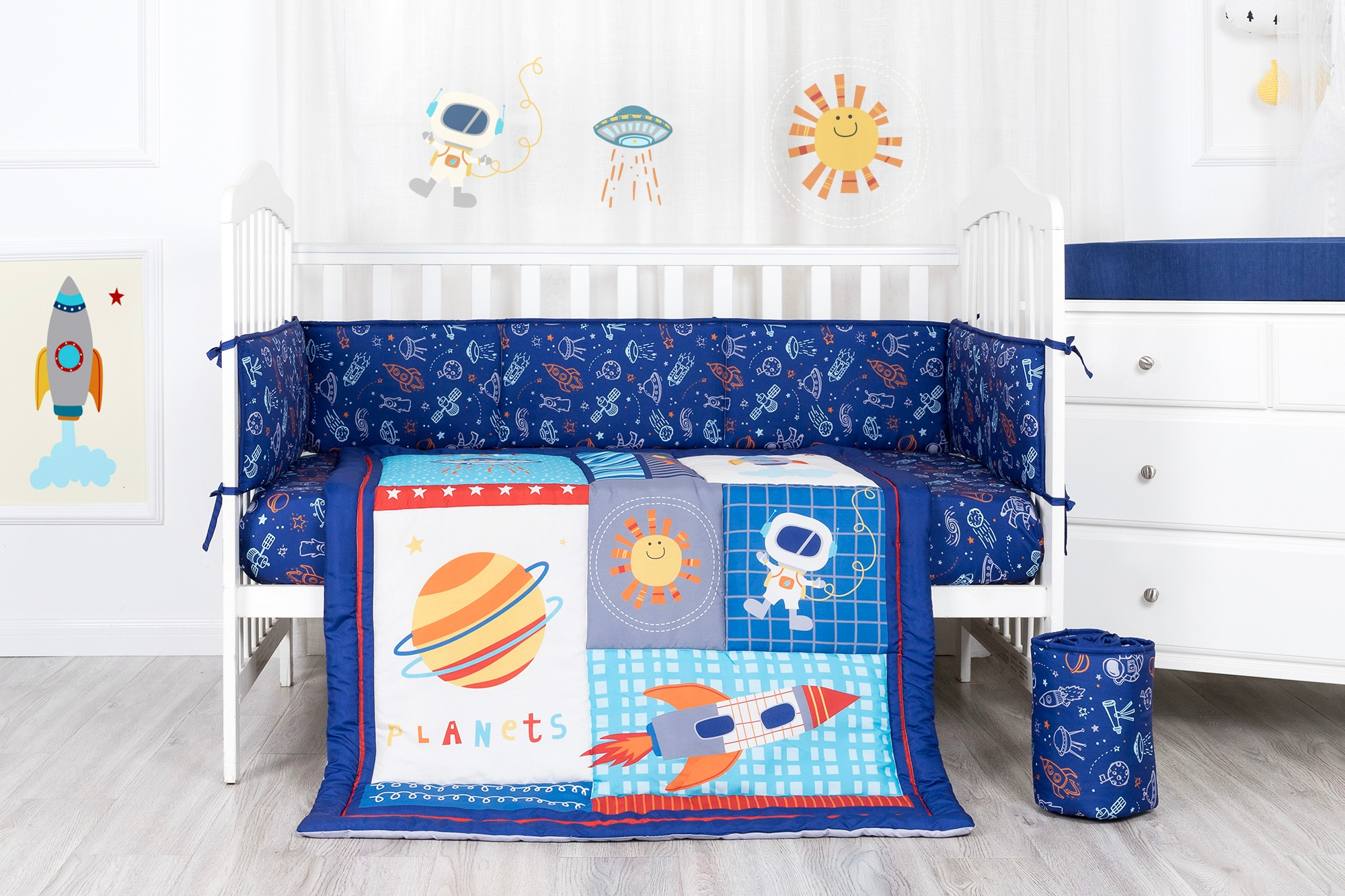 Cosmic space theme baby bedding set fitted sheet 4pc microfiber navy color crib bedding set with bumper