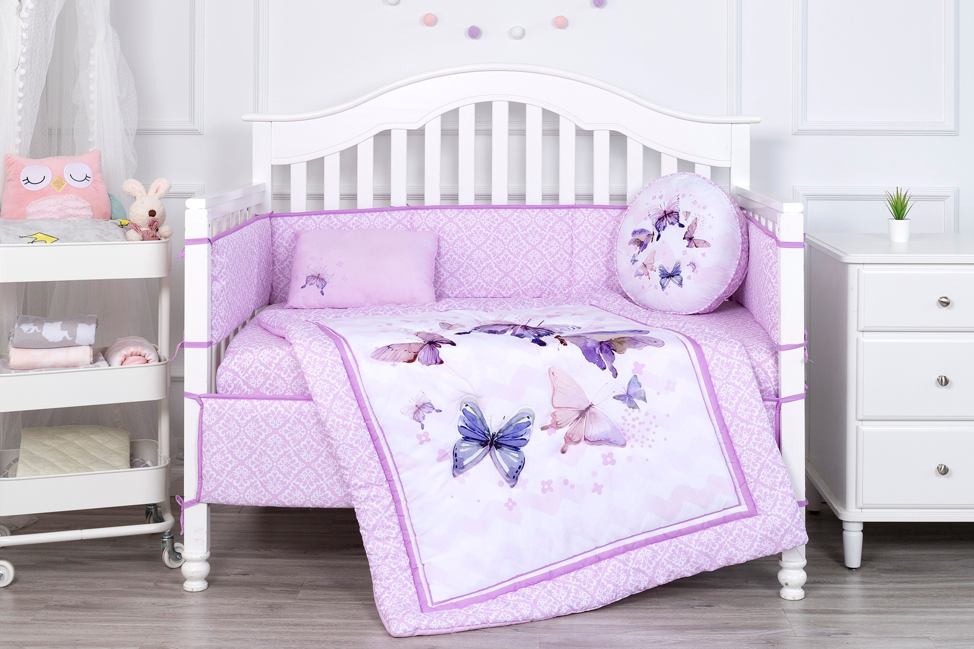 Dream Butterfly theme print bedding set baby polyester baby crib bedding sets for girls
