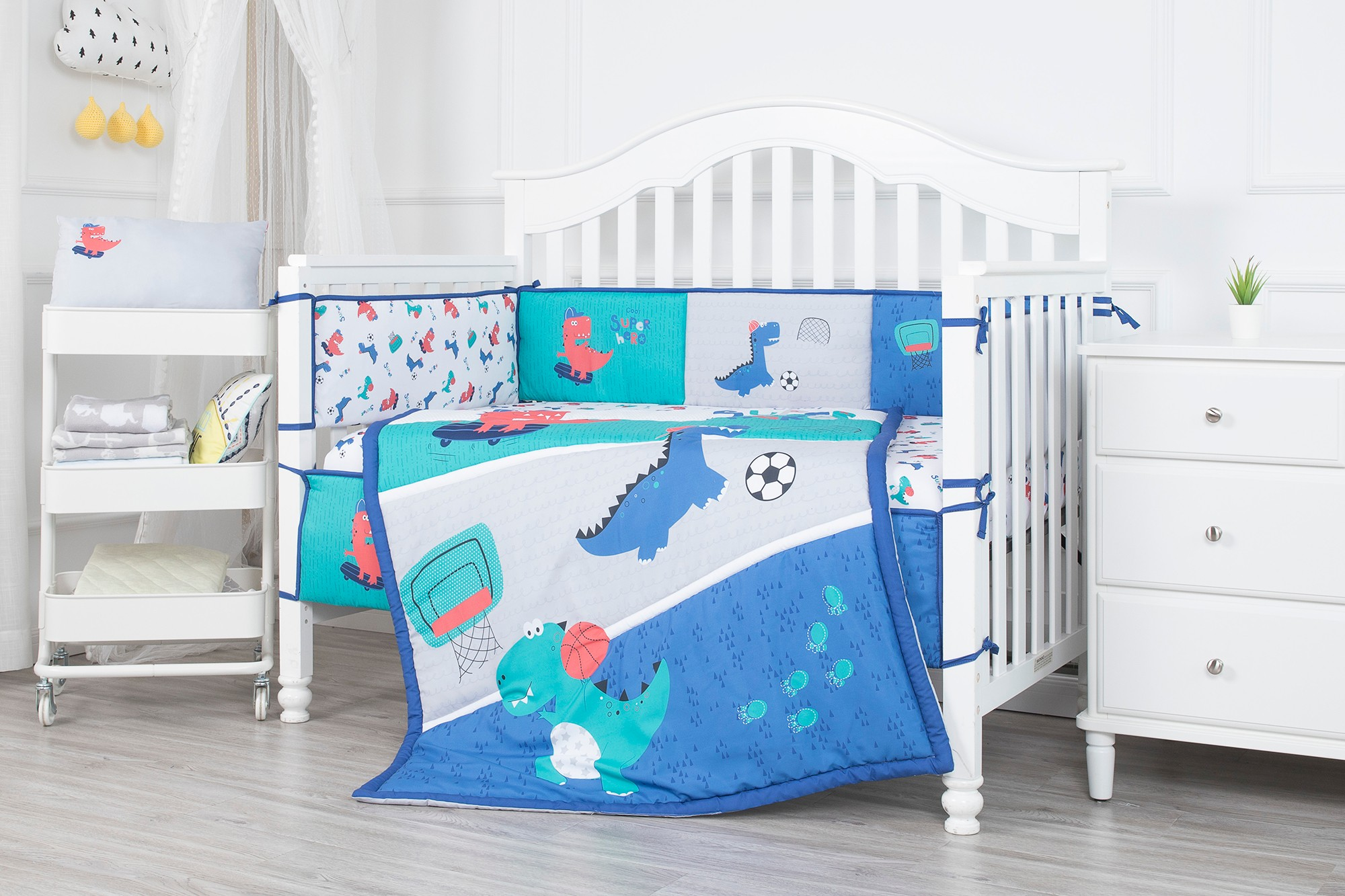 Sports dinosaurs theme print baby cot bedding set microfiber polyester baby bedding set