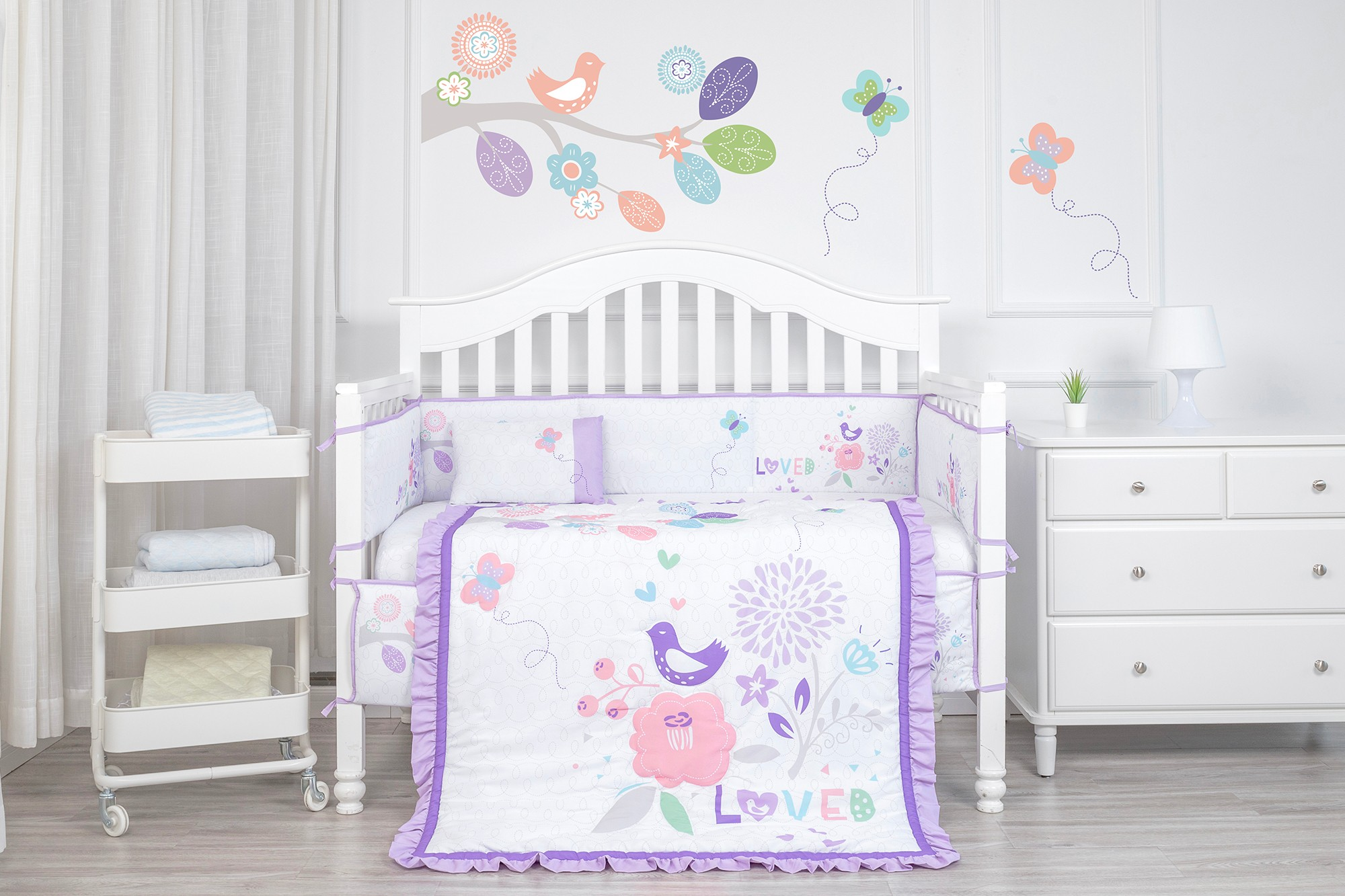 Purple bird garden polyester 4pc girl crib baby bedding set