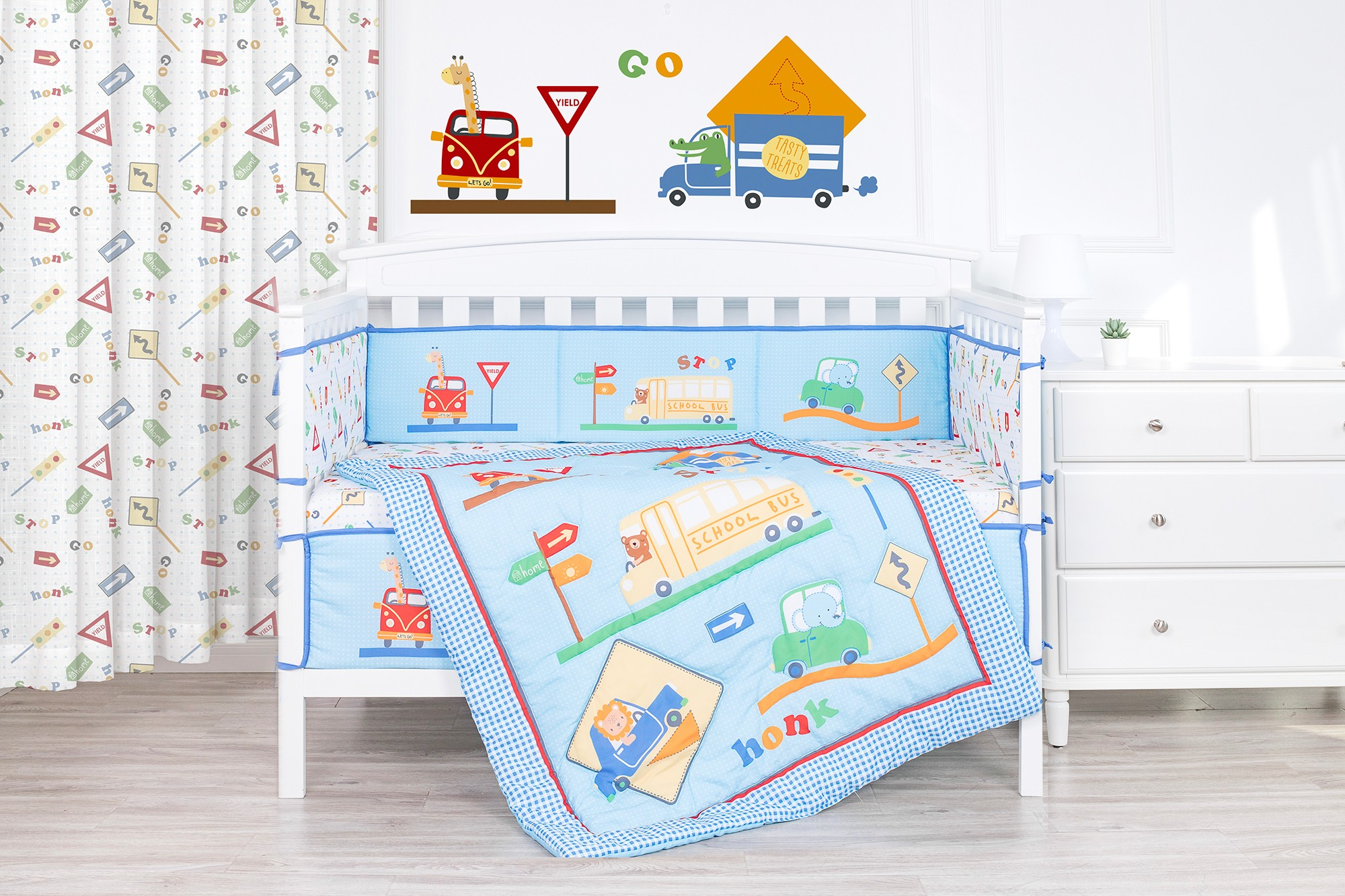 City traffic cartoon theme car light blue baby crib bedding set nursing bedding