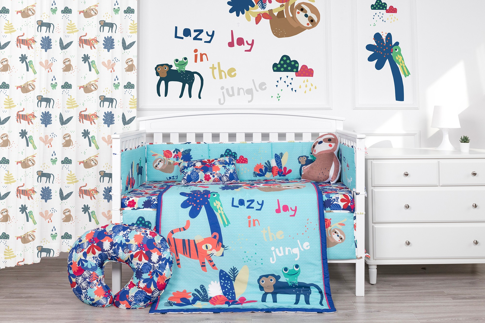 Cute sloth in the woods navy blue baby crib bedding set baby boy bedding