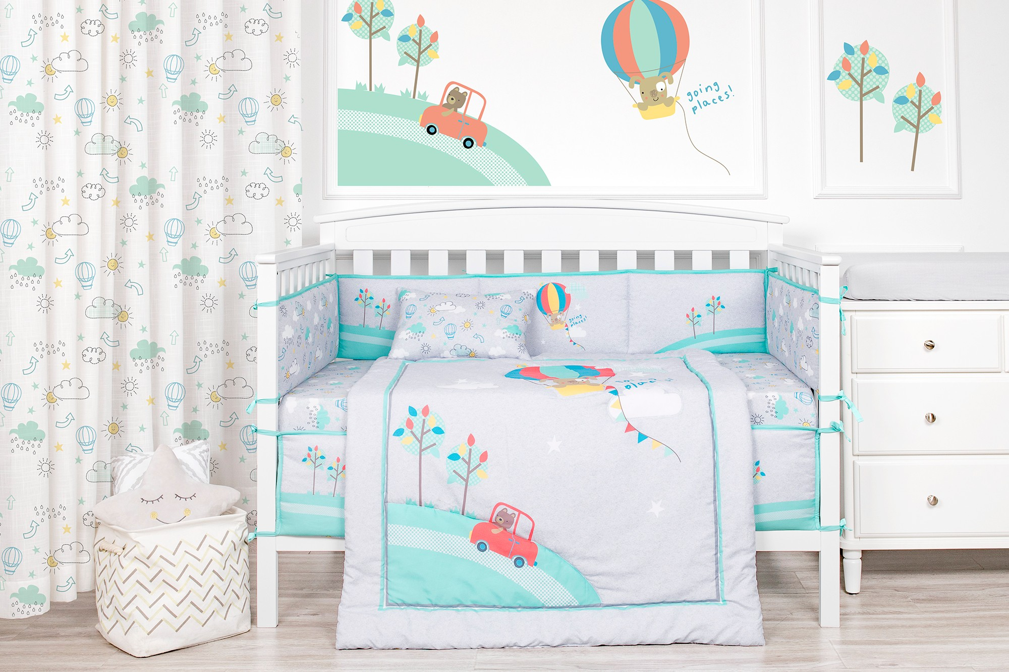 Cartoon dog grey balloon theme cot bedding microfiber baby crib bedding set