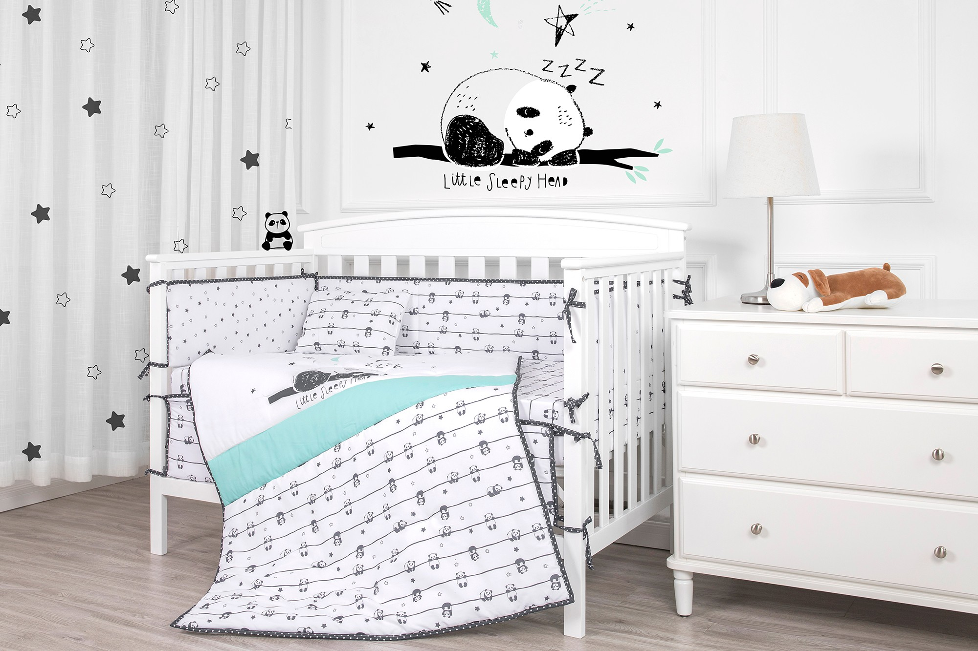 Chinese bamboo giant panda white and black baby boy bedding set microfiber bedding sets luxury