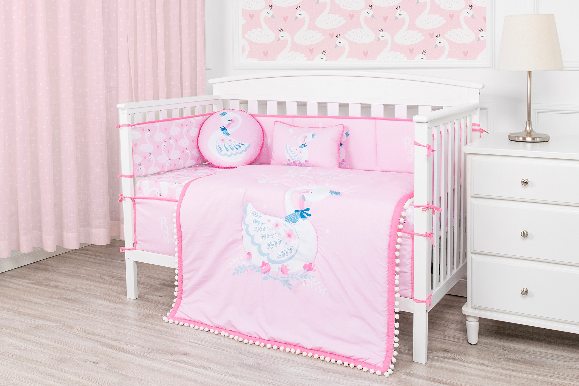 Pink theme beautiful swan baby crib bedding set microfiber cot bedding set