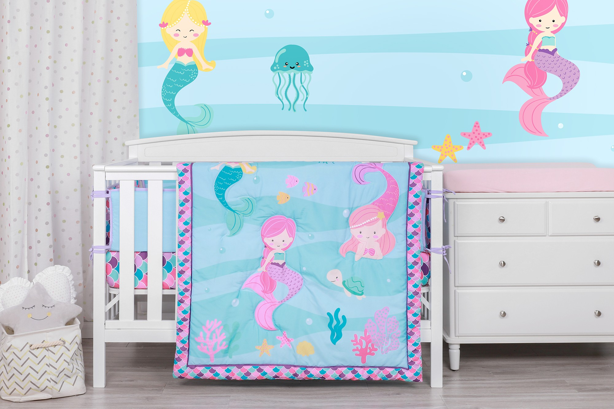 Mermaid sisters theme organic cotton baby quite bed set soft cheap baby bedding set